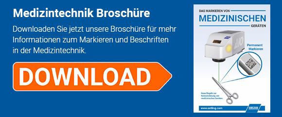 """Download Button für die Broschüre """"Das Markieren von Medizinischen Geräten - Laser"""""""